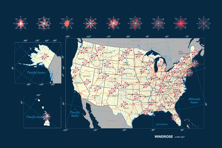 Set grafico meteorologico grafico rosa dei venti, rosa dei venti. Rosa del vento per materiali scientifici e design infografico