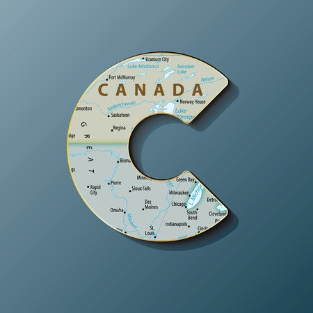 Vector illustration of uppercase letter C with map to use monograms, logos,emblems