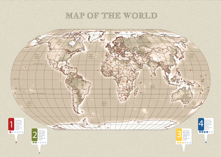 Physical vecror map of the World with outlines, major capitals. Sepia, infographic
