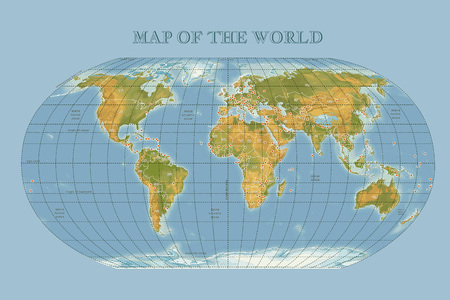 Color physical vecror map of the World with outlines, major capitals.