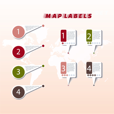 Collection colored pointers or pins on world map. Vector illustration Ilustração