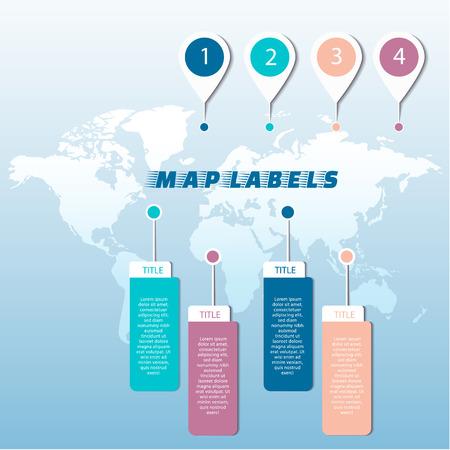 Set of colored pointers or pins on world map. Vector illustration