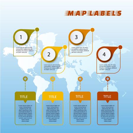 Set of colorful map markerson world map. Vector illustration Ilustração