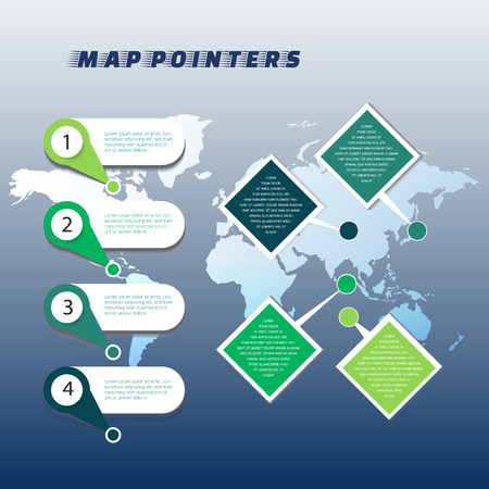 Collection of colorful map markers on world map