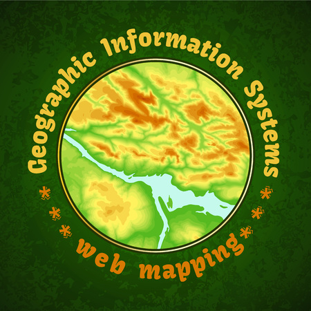 Geographic information system banner with topographic background round concept