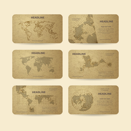 Set of vector banners with world map Ilustração