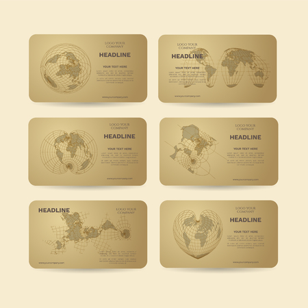 Set of gold vector banners with world map