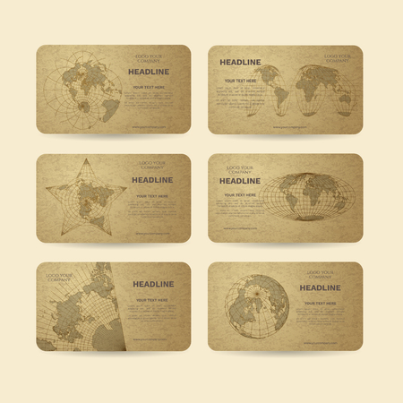 Set of vector banners with world map in dirrerent projections Ilustração