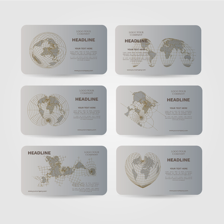 Set of vector banners with world map. Silver color Ilustração