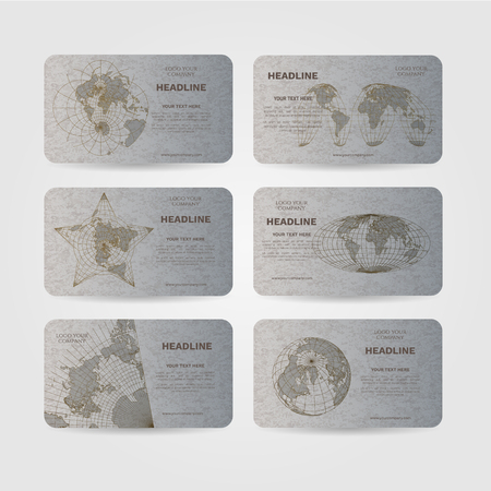 Set of silver vector banners with world map in different projections