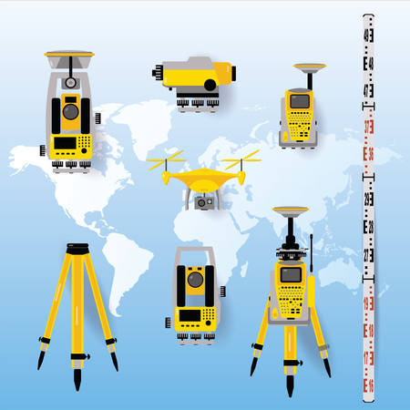 Geodetic measuring equipment icon set, engineering technology for land survey on world map baclground