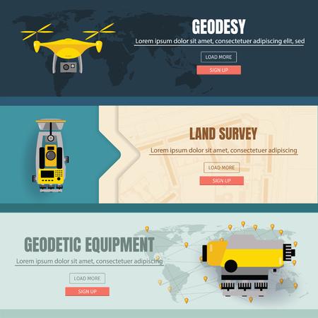 Geodetic measuring equipment banner set, engineering technology for land survey Ilustração