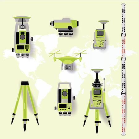 Equipo de medición geodésico, tecnología de ingeniería para levantamiento de tierras en el fondo del mapa mundial. Diseño plano Ilustración de vector