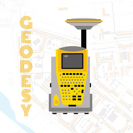Isolate icon of geodetic measuring equipment, engineering technology for land survey