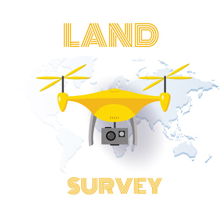 Geodetic measuring equipment, drone, engineering technology for land survey and geodesy banner