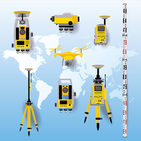 Geodetic equipment vector illustration. Measuring instruments in flat design. Theodolite, tacheometer, total station, drone, level, map sketch isolated on world map blue background. Çizim