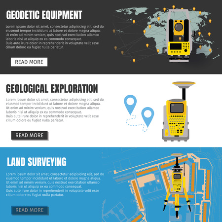 Geodetic measuring equipment banner set, engineering technology for land survey, geodesy, engineering Illustration