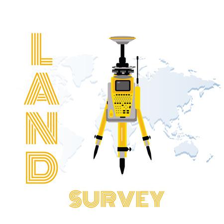Geodetic measuring equipment, engineering technology for land survey on world map background Ilustração