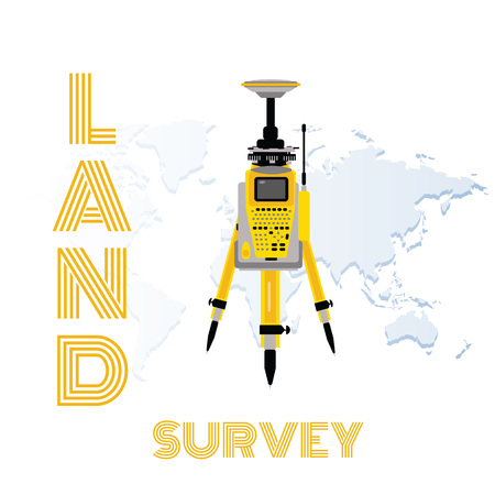 Geodetic measuring equipment, engineering technology for land survey on world map background Illustration