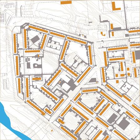Generic editable vector city map with no names Ilustração