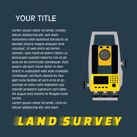 Geodetic measuring equipment, engineering technology for land survey banner on dark background.Isolate icon of theodolit Ilustração