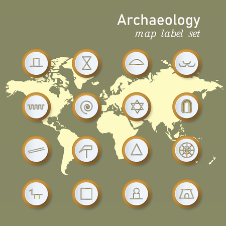 Set of colorful map archaeologycal marker. Vector illustration