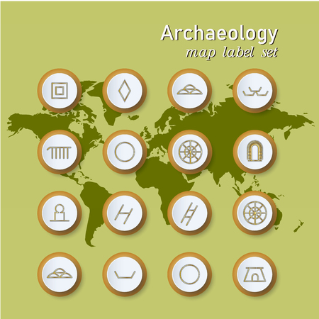 Set of colorful map archaeologycal label. Vector illustration on world map background