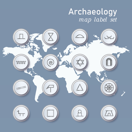 Set of colorful map archaeologycal pin. Vector illustration