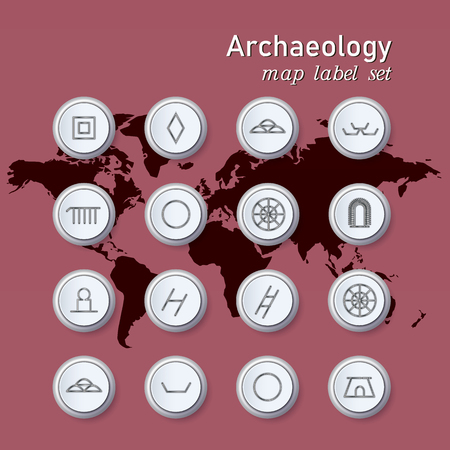 Set of colorful map archaeologycal button. Vector illustration