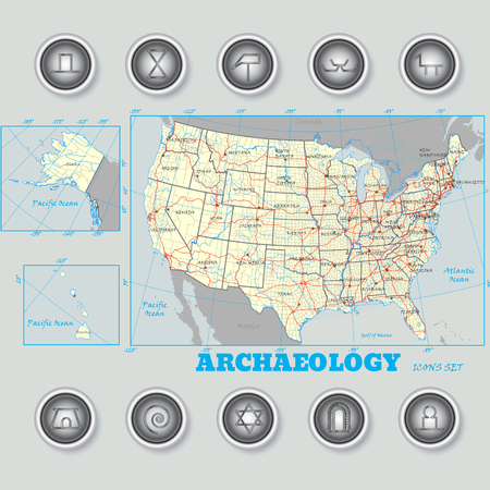 Set of colorful map archaeologycal marker. Vector illustration on USA map background