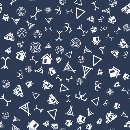 Vector flat  archaeological texture streamless pattern  on dark background