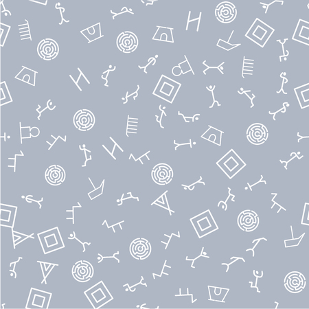 Vector flat  archaeological texture streamless pattern  on light background