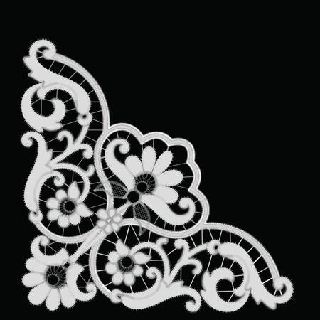 White Richelieu embroidery patterns on the black background Ilustração