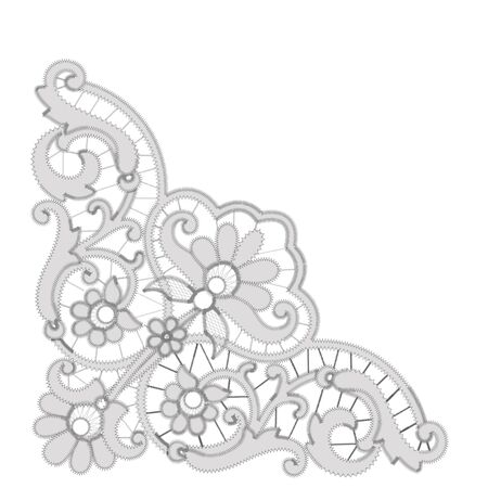 Gray Richelieu embroidery patterns on the white background