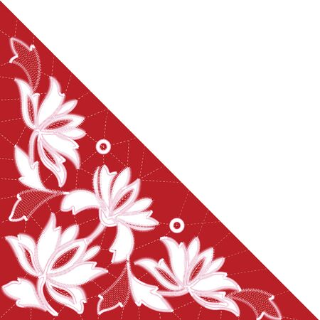 White Richelieu embroidery patterns on the red background