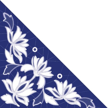 White Richelieu embroidery patterns on the blue background