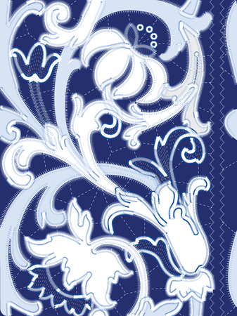 White Richelieu embroidery patterns on the blue background as seamless pattern