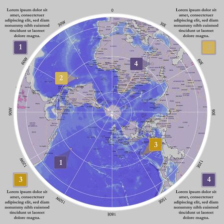 World map in polar projection banner. Antarctic