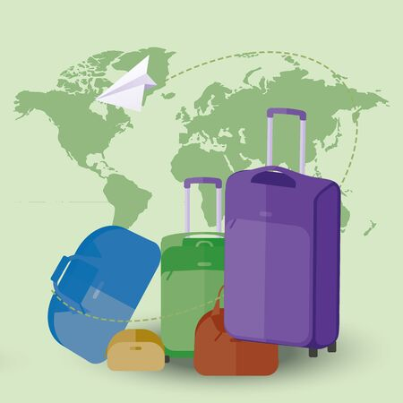 Vector illustration of flying paper plane around travel suitcases on map background