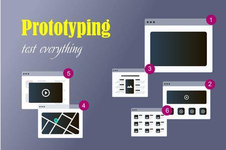 Vector illustration of flat concept responsive web design prototype in computer