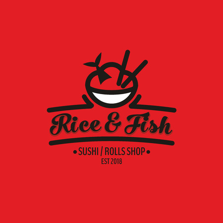 Rice and fish vector logo template. Japanese or chinese traditional cuisine, tasty food icon. Abstract black and red color for asian sushi bar emblem. Vector illustration.