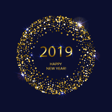 Golden splash or glittering spangles round frame. Happy New Year 2019 - gold disc lights frame on dark blue background. Vector illustration.