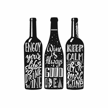 Typography set of wine bottle silhouette with lettering. Vector handwriting illustration designed for advertising bar or pub menu, prints, poster, banner and labels creations. Black and white. Illusztráció
