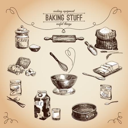 baking dish: hand drawn set. Vintage illustration with milk, sugar, flour, vanilla, eggs, mixer, baking powder, rolling, whisk, spoon vanilla bean, butter and kitchen dish.