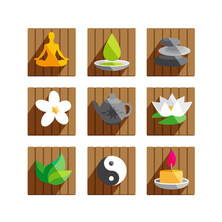 simple purity flowers: Modern flat icons set with wellness and spa motives.Illustration collection with long shadow effect. Candle, massage oil, mint, jasmine and lotus flower. Illustration