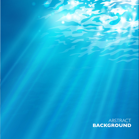 sea  scuba diving: Vector under water background. Design template. Blue deep sea.