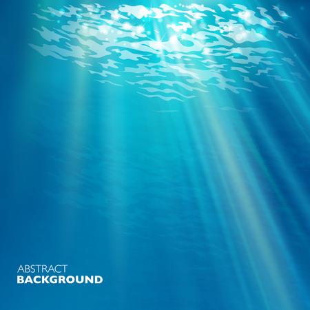 물 배경에서 벡터. 디자인 서식 파일입니다. 블루 깊은 바다.