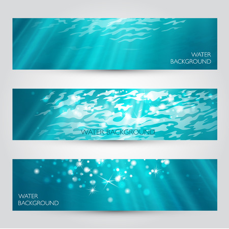 deep ocean: Vector under water banners set. Blue deep sea.