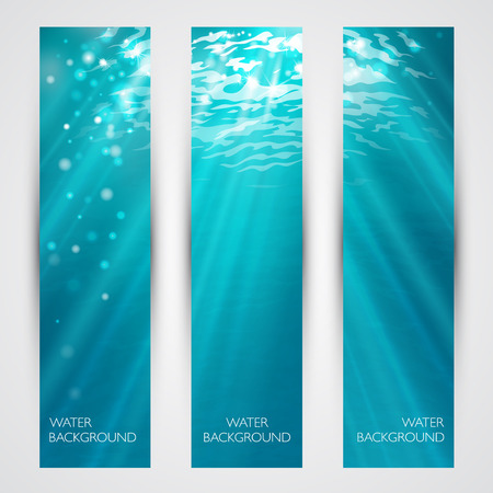 water colour: Vector under water banners set. Blue deep sea.