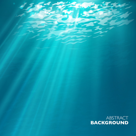 Vector under water background. Design template. Blue deep sea.